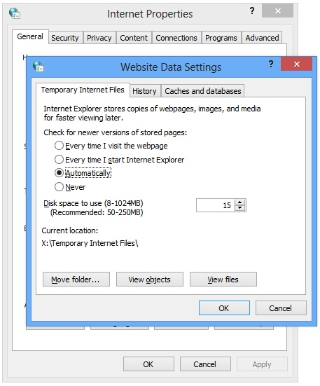 Internet Explorer's Temporary Internet Files