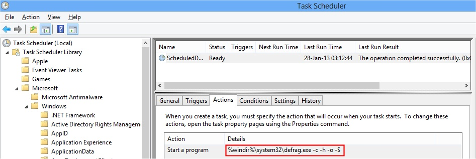 Scheduled Task for Defrag