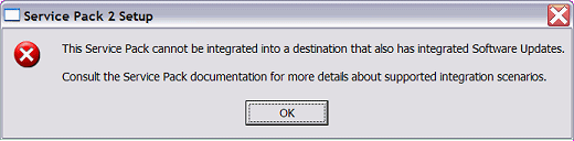 This service pack can't be integrated error