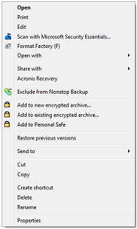 Windows Explorer right-click contect menu